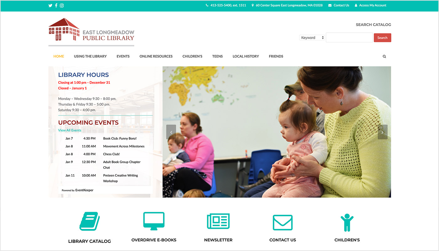 East-Longmeadow-Library-Custom-WordPress-Website-Design