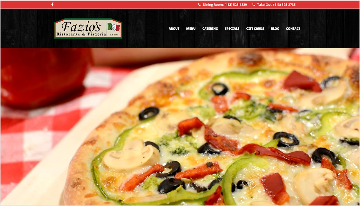 Fazio's restaurant website design, restaurant web design Western MA, restaurant web design Northern CT, branding Massachusetts, marketing agency Western MA, digital marketing agency
