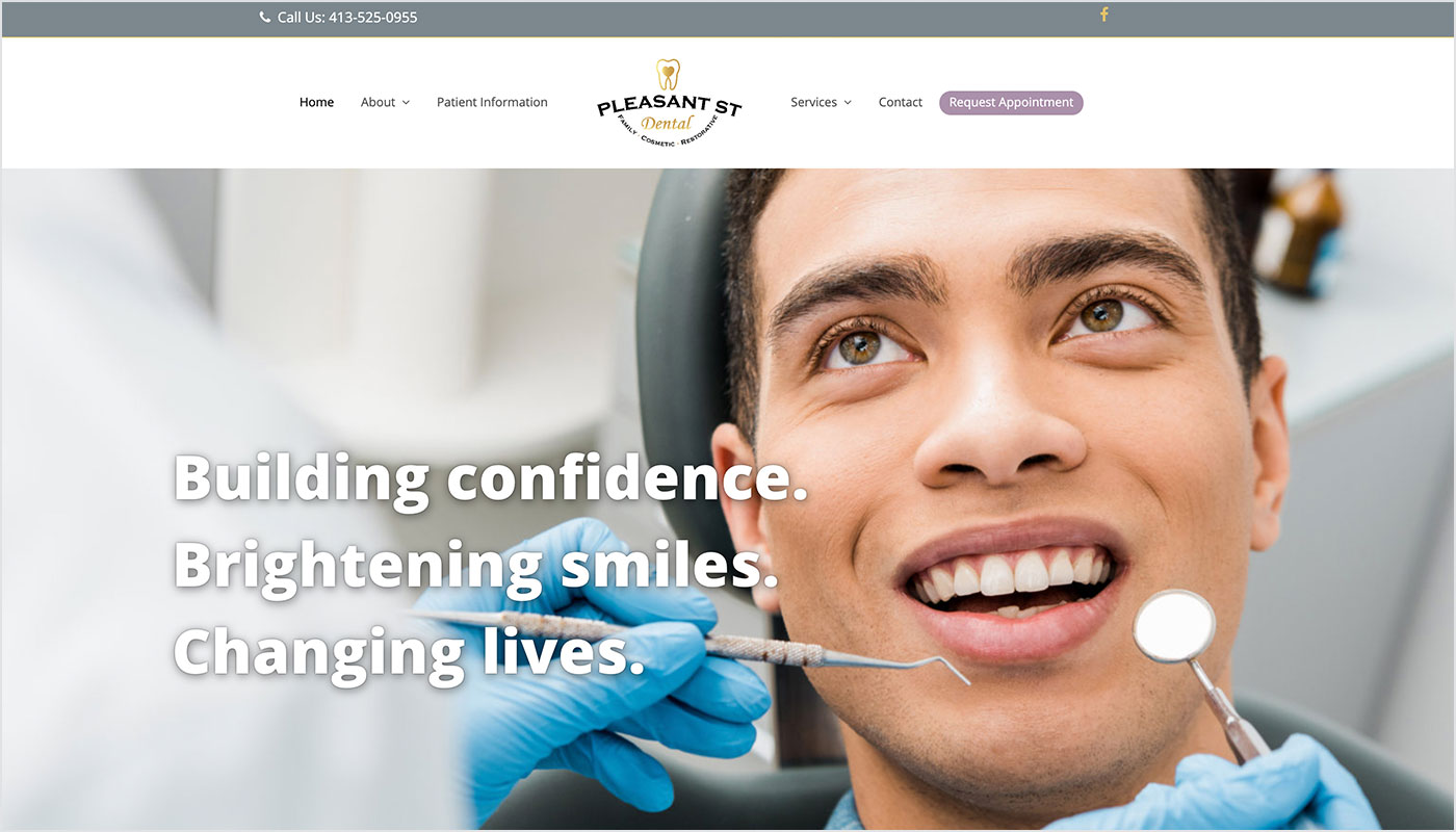 Pleasant Street Dental Website, Web Designer East Longmeadow MA, Marketing Agency East Longmeadow MA, Design Services Massachusetts, Branding Massachusetts