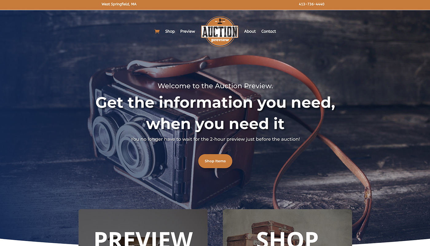The Auction Preview Website, Ecommerce Website Design Springfield MA, ECommerce Website Designer, Web Designer Western MA, Marketing Agency Serving Northern CT