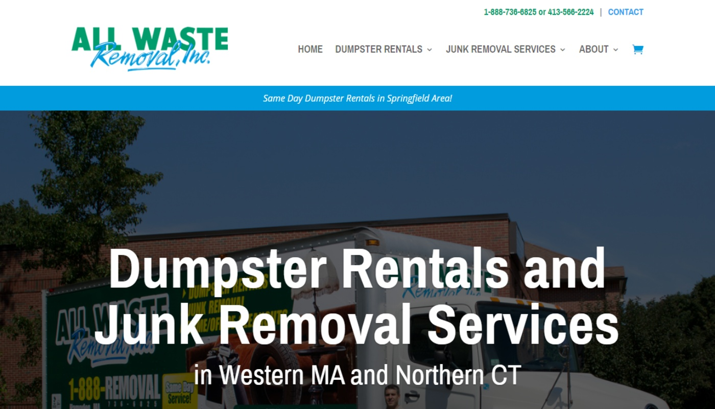 All Waste Removal mobile responsive wordpress web design in western mass