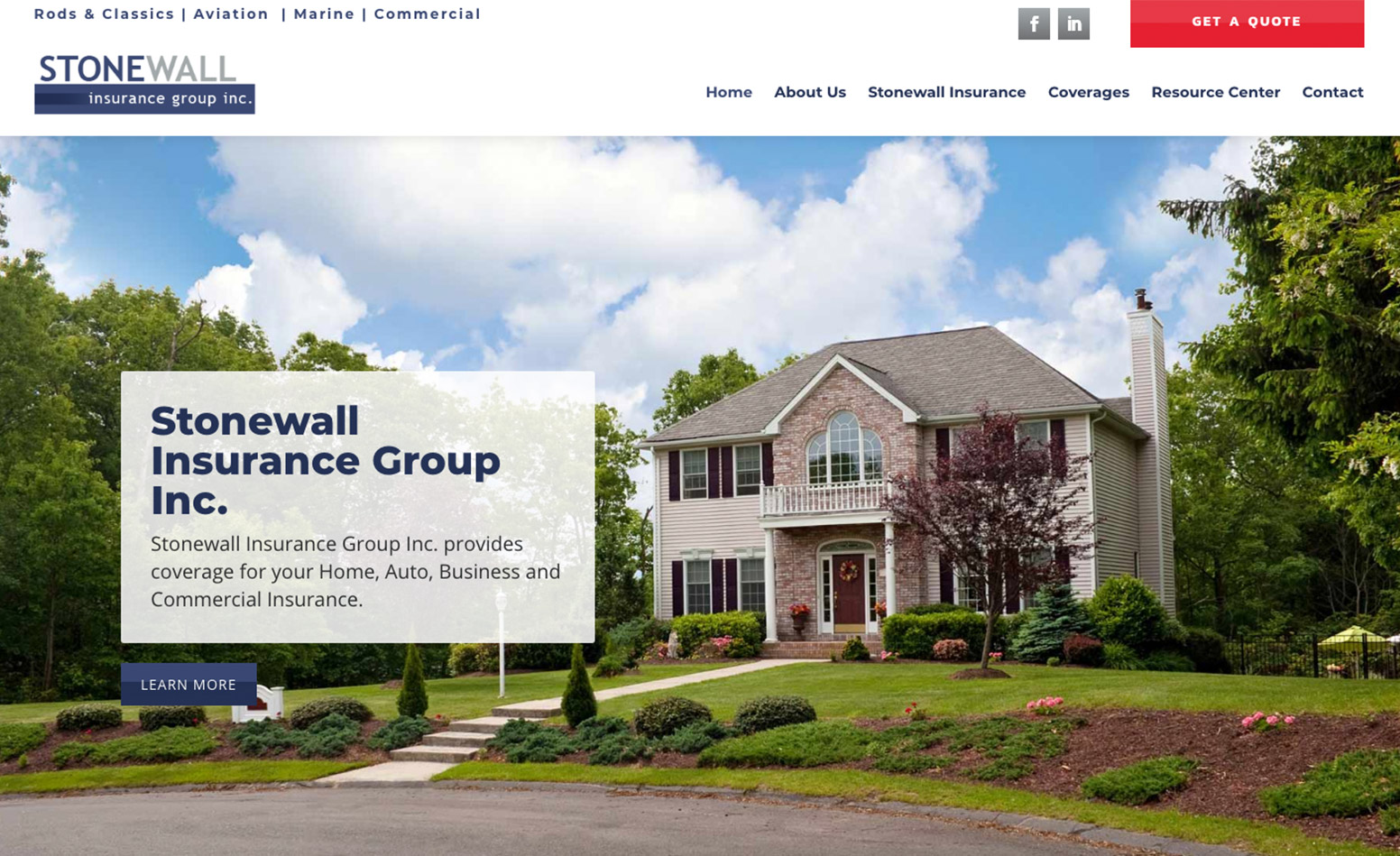Stonewall Insurance Group website, digital marketing agency MA, advertising agency CT, Envision Marketing Group, graphic design MA